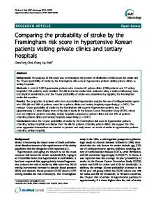 Comparing the probability of stroke by the Framingham risk score in hypertensive Korean patients visiting private clinics and tertiary hospitals