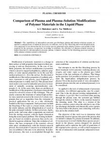 Comparison of plasma and plasma-solution modifications of polymer materials in the liquid phase