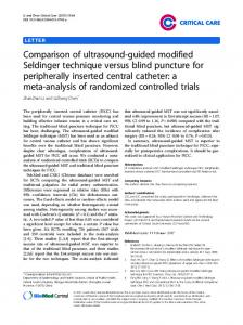 Comparison of ultrasound-guided modified Seldinger technique versus blind puncture for peripherally inserted central catheter: a meta-analysis of randomized controlled trials
