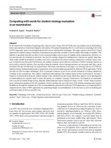 Computing with words for student strategy evaluation in an examination