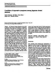 Condition of depressive symptoms among Japanese dental students