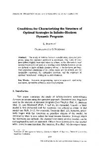 Conditions for characterizing the structure of optimal strategies in infinite-horizon dynamic programs