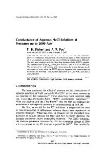 Conductance of aqueous NaCl solutions at pressures up to 2000 atm