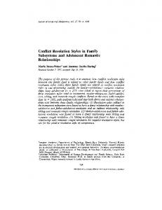 Conflict Resolution Styles in Family Subsystems and Adolescent Romantic Relationships