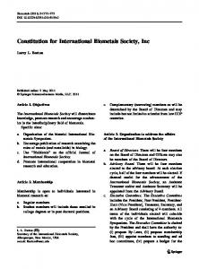 Constitution for International Biometals Society, Inc
