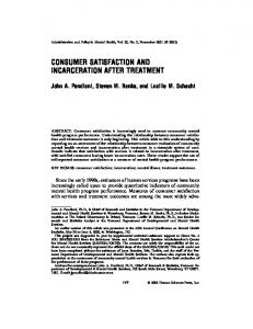 Consumer Satisfaction and Incarceration After Treatment