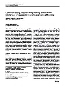 Contextual cueing under working memory load: Selective interference of visuospatial load with expression of learning