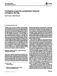 Contingency proportion systematically influences contingency learning