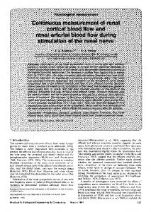 Continuous measurement of renal cortical blood flow and renal arterial blood flow during stimulation of the renal nerve