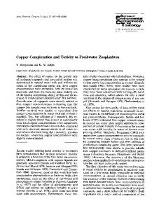 Copper complexation and toxicity to freshwater zooplankton