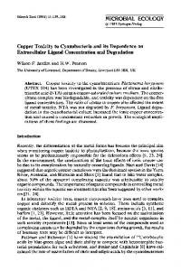 Copper toxicity to cyanobacteria and its dependence on extracellular ligand concentration and degradation