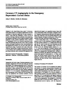 Coronary CT Angiography in the Emergency Department: Current Status
