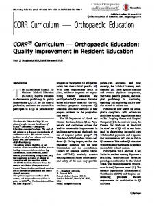 CORR ® Curriculum — Orthopaedic Education: Quality Improvement in Resident Education