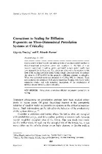 Corrections to scaling for diffusion exponents on three-dimensional percolation systems at criticality