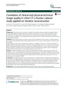 Correlation of clinical and physical-technical image quality in chest CT: a human cadaver study applied on iterative reconstruction