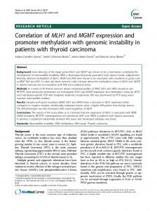 Correlation of MLH1 and MGMTexpression and promoter methylation with genomic instability in patients with thyroid carcinoma