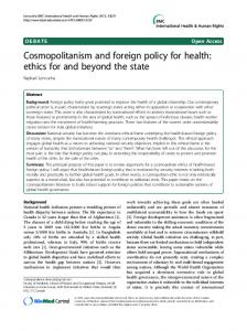 Cosmopolitanism and foreign policy for health: ethics for and beyond the state