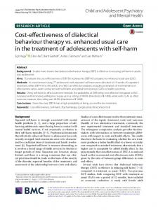 Cost-effectiveness of dialectical behaviour therapy vs. enhanced usual care in the treatment of adolescents with self-harm