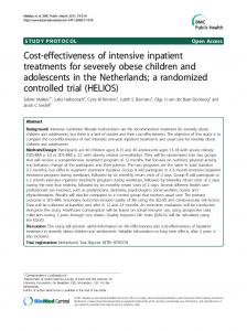 Cost-effectiveness of intensive inpatient treatments for severely obese children and adolescents in the Netherlands; a randomized controlled trial (HELIOS)