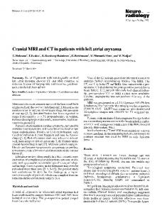 Cranial MRI and CT in patients with left atrial myxoma