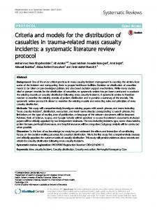 Criteria and models for the distribution of casualties in trauma-related mass casualty incidents: a systematic literature review protocol