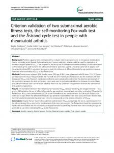 Criterion validation of two submaximal aerobic fitness tests, the self-monitoring Fox-walk test and the Åstrand cycle test in people with rheumatoid arthritis