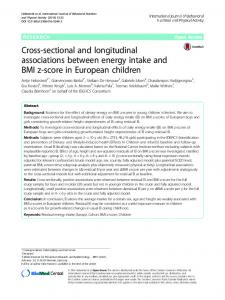 Cross-sectional and longitudinal associations between energy intake and BMI z-score in European children