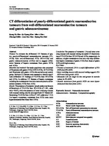 CT differentiation of poorly-differentiated gastric neuroendocrine tumours from well-differentiated neuroendocrine tumours and gastric adenocarcinomas