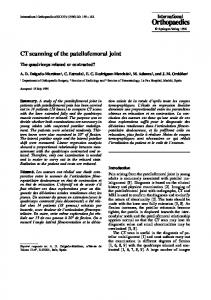 CT scanning of the patellofemoral joint
