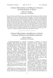 Cultural materialism and behavior analysis: An introduction to harris