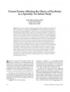 Current Factors Affecting the Choice of Psychiatry as a Specialty: An Italian Study