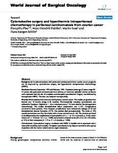 Cytoreductive surgery and hyperthermic intraperitoneal chemotherapy in peritoneal carcinomatosis from ovarian cancer