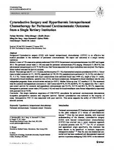 Cytoreductive Surgery and Hyperthermic Intraperitoneal Chemotherapy for Peritoneal Carcinomatosis: Outcomes from a Single Tertiary Institution