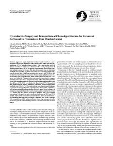 Cytoreductive Surgery and Intraperitoneal Chemohyperthermia for Recurrent Peritoneal Carcinomatosis from Ovarian Cancer