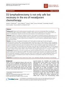D2 lymphadenectomy is not only safe but necessary in the era of neoadjuvant chemotherapy
