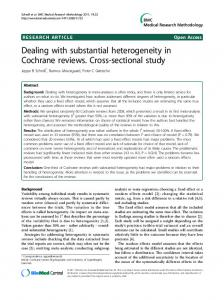 Dealing with substantial heterogeneity in Cochrane reviews. Cross-sectional study