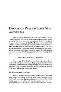 Decade of peace in East Asia