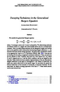 Decaying Turbulence in the Generalised Burgers Equation