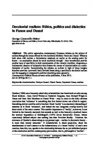Decolonial realism: Ethics, politics and dialectics in Fanon and Dussel