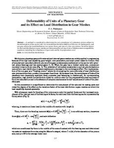 Deformability of units of a planetary gear and its effect on load distribution in gear meshes