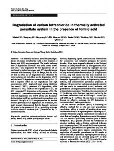 Degradation of carbon tetrachloride in thermally activated persulfate system in the presence of formic acid