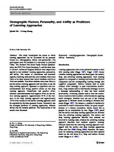 Demographic Factors, Personality, and Ability as Predictors of Learning Approaches