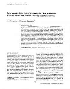 Denaturation behavior of phaseolin in urea, guanidine hydrochloride, and sodium dodecyl sulfate solutions