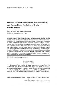 Dentists' technical competence, communication, and personality as predictors of dental patient anxiety