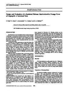 Design and Evaluation of a Sustained Release Gastroretentive Dosage Form of Captopril: A Technical Note