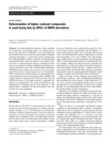 Determination of higher carbonyl compounds in used frying fats by HPLC of DNPH derivatives