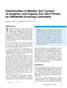 Determination of metallic zinc content of inorganic and organic zinc-rich primers by differential scanning calorimetry