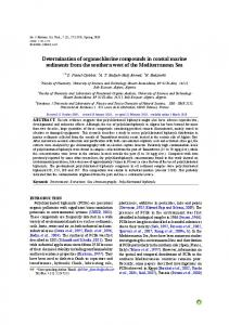 Determination of organochlorine compounds in coastal marine sediments from the southern west of the Mediterranean Sea