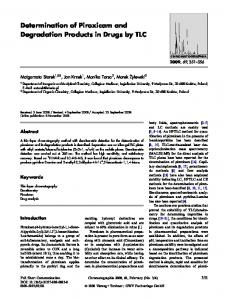Determination of Piroxicam and Degradation Products in Drugs by TLC
