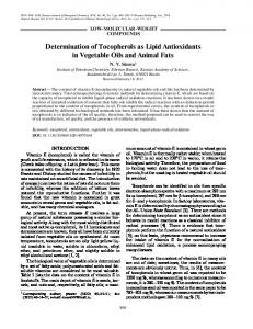 Determination of tocopherols as lipid antioxidants in vegetable oils and animal fats